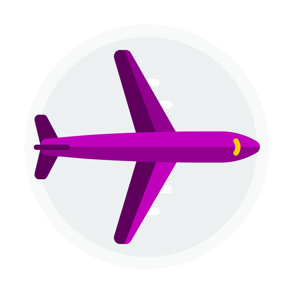 Icon of a purple airplane